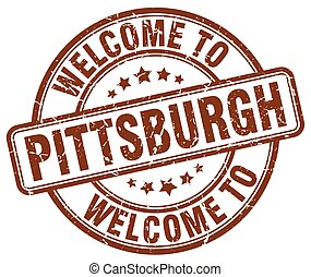 welcome to Pittsburgh brown round vintage stamp