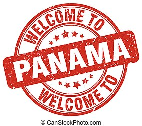 welcome to Panama red round vintage stamp