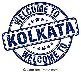 welcome to Kolkata blue round vintage stamp
