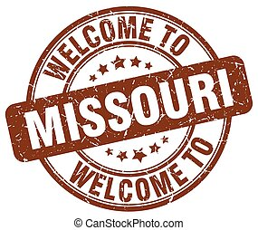 welcome to Missouri brown round vintage stamp