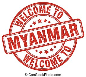 welcome to Myanmar red round vintage stamp