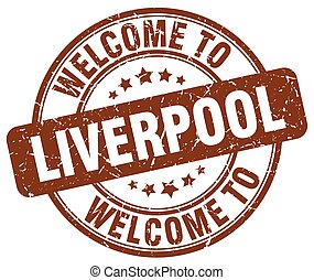 welcome to Liverpool brown round vintage stamp