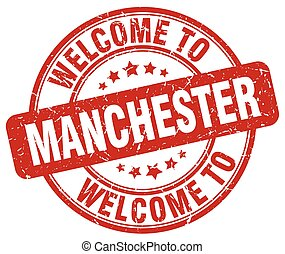 Welcome to Manchester red round vintage stamp