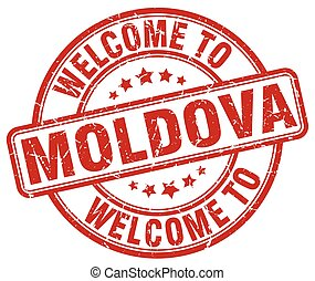 welcome to Moldova red round vintage stamp