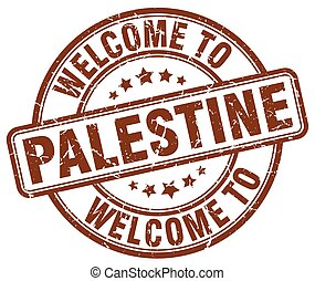 Welcome to Palestine brown round vintage stamp