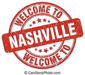 welcome to Nashville red round vintage stamp