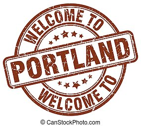 welcome to Portland brown round vintage stamp