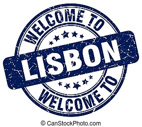welcome to Lisbon blue round vintage stamp