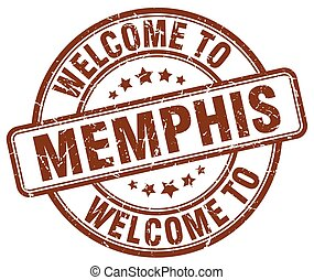 welcome to Memphis brown round vintage stamp