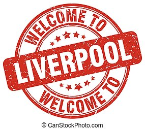 welcome to Liverpool red round vintage stamp