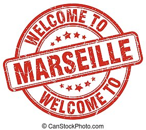 welcome to Marseille red round vintage stamp
