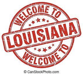 welcome to Louisiana red round vintage stamp