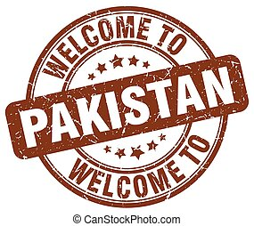 welcome to Pakistan brown round vintage stamp