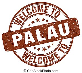 welcome to Palau brown round vintage stamp