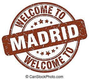 accueil, à, Madrid, brun, rond, vendange, timbre,