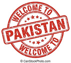 welcome to Pakistan red round vintage stamp