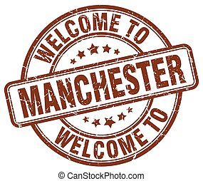 welcome to Manchester brown round vintage stamp