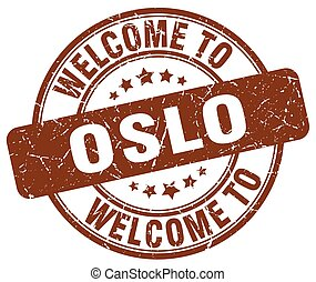 welcome to Oslo brown round vintage stamp