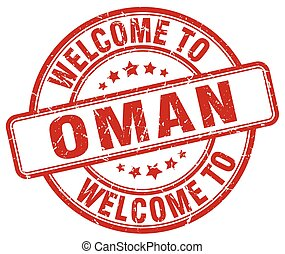welcome to Oman red round vintage stamp
