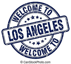 welcome to Los Angeles blue round vintage stamp