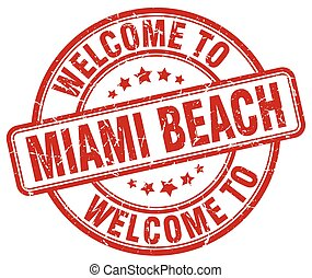 welcome to Miami Beach red round vintage stamp