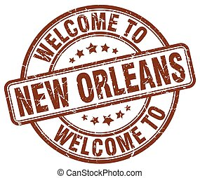 welcome to New Orleans brown round vintage stamp