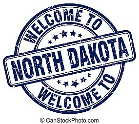 welcome to North Dakota blue round vintage stamp
