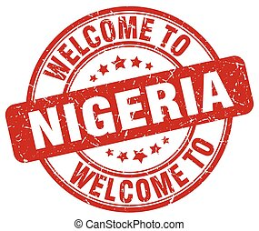 welcome to Nigeria red round vintage stamp