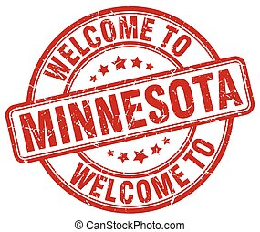 welcome to Minnesota red round vintage stamp