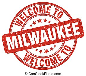 welcome to Milwaukee red round vintage stamp