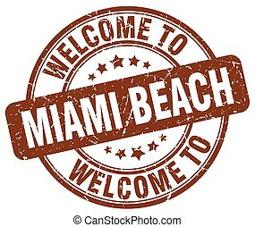welcome to Miami Beach brown round vintage stamp