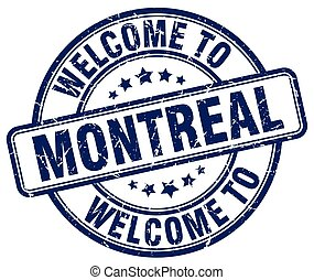 welcome to Montreal blue round vintage stamp