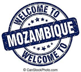 welcome to Mozambique blue round vintage stamp