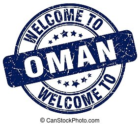welcome to Oman blue round vintage stamp