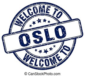 welcome to Oslo blue round vintage stamp