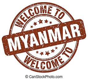 welcome to Myanmar brown round vintage stamp