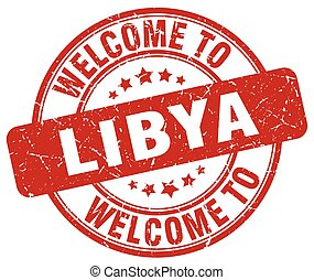 welcome to Libya red round vintage stamp