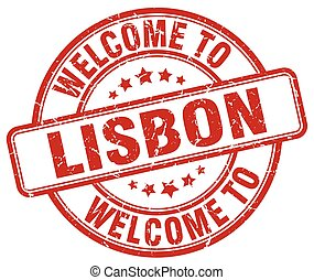 welcome to Lisbon red round vintage stamp