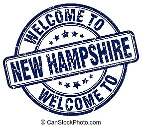 welcome to New Hampshire blue round vintage stamp