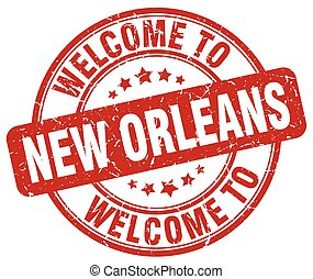 welcome to New Orleans red round vintage stamp