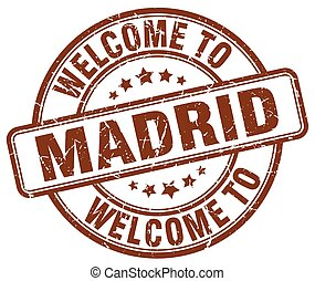 welcome to Madrid brown round vintage stamp