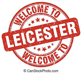 welcome to Leicester red round vintage stamp