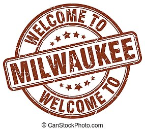 welcome to Milwaukee brown round vintage stamp