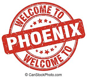 welcome to Phoenix red round vintage stamp