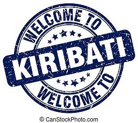 welcome to Kiribati blue round vintage stamp