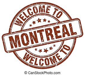 welcome to Montreal brown round vintage stamp