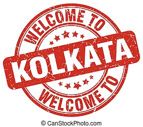 welcome to Kolkata red round vintage stamp