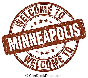welcome to Minneapolis brown round vintage stamp