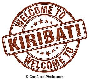 welcome to Kiribati brown round vintage stamp