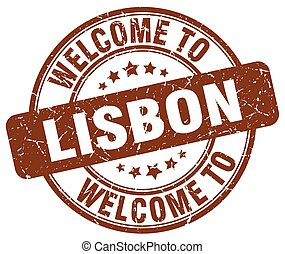 welcome to Lisbon brown round vintage stamp